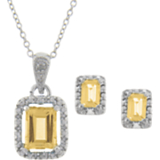 Citrine and Diamond Rectangle Pendant and Earrings
