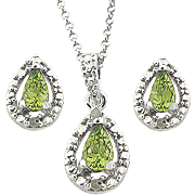 Peridot and Diamond Teardrop Pendant and Earrings