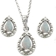 Opal and Diamond Teardrop Set