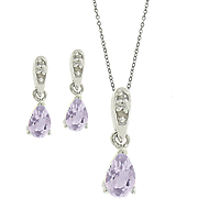 Amethyst and Diamond Pear Set