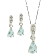 Blue Topaz and Diamond Pear Set
