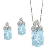 Blue Topaz and Diamond Oval Set