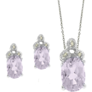 Amethyst and Diamond Oval Set