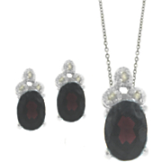Garnet and Diamond Oval Set
