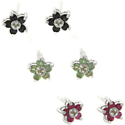 3 pairs Of Ruby sapphire emerald Earrings With Diamonds