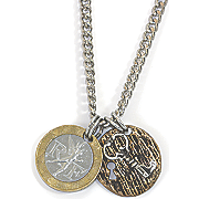 French Franc W sterling Silver Lock and Key Men Necklace