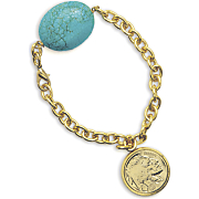 Gold layered Buffalo Nickel Bracelet W turquoise Stone