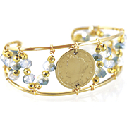 Liberty Nickel Bead Cuff Bracelet