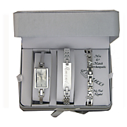 silvertone watch name bracelet with extra interchangeable strap