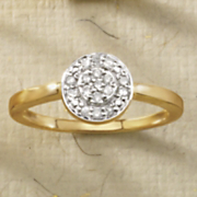 10k gold diamond framed round ring