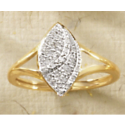 10K Gold Diamond Marquise Cluster Ring