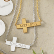 name horizontal cross necklace
