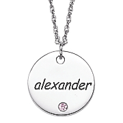 personalized pendant with simulated birthstone