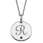 personalized initial pendant with simulated birthstone
