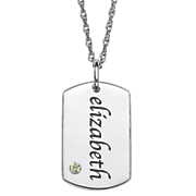 personalized tag pendant with simulated birthstone