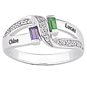 couple simulated birthstone ring