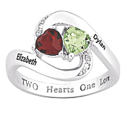 personalized two heart couple s ring