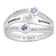 personalized gemstone diamond accent couples ring