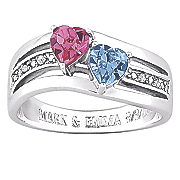 personalized two heart birthstone ring with diamond accents