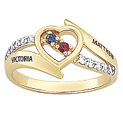 personalized single heart couple birthstone ring