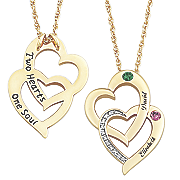 personalized heart duo with simulated birthstones