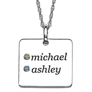 personalized square couples birthstone pendant