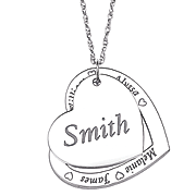 personanlized family name heart pendant