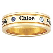 goldtone family name birthstone ring