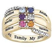 personalized goldtone family name simulated birthstone ring
