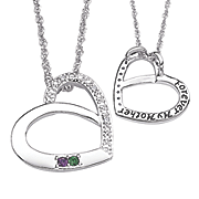 silvertone family birthstone pendant with diamond accents