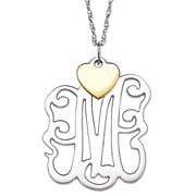 monogram with heart pendant