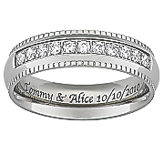 men s titanium band with cubic zirconia
