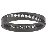 women s black titanium message band with cubic zirconias