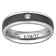 stainless steel message band with cubic zirconia
