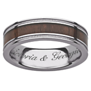 titanium wood message ring