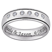 titanium message band with cubic zirconias