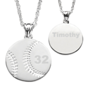 silvertone personalized sports ball pendant