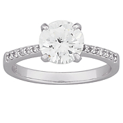 large cubic zirconia solitaire engagement ring