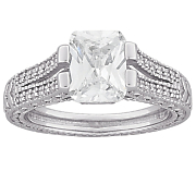 emerald cut cubic zirconia engagement ring