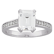 large emerald cut cubic zirconia engagement ring