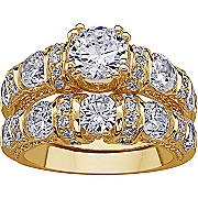 Wedding Ring Set with Cubic Zirconias