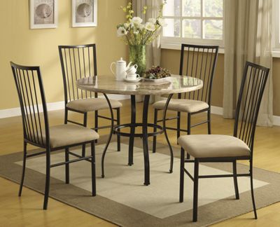 5 Pc Dining Set with Faux Marble Top