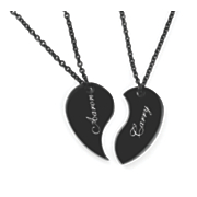 personalized split heart couples pendant