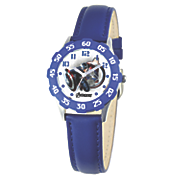 personalized blue leather strap captain america watch