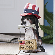 welcoming dog with holiday hats and signs