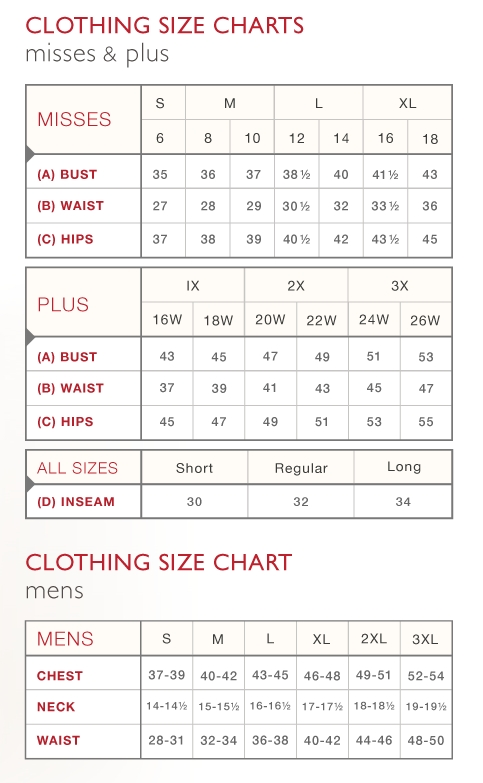 Clothing Sizing Chart Amp Country Door