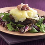 Grilled Portobello Mushrooms Stuffed With Bacon And Caramelized Onion Purée