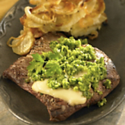 Skirt Steak with a Wisconsin Limburger Cheese Melt, Caramelized Onions and Potato Pie