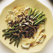 Crêpes With Wild Mushrooms, Asparagus And Wisconsin Brie