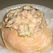 Nancys Baked Potato Soup with Bread Bowl Recipe